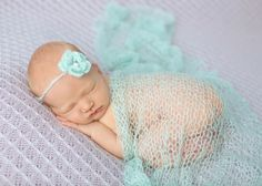 SET Baby Blue Mohair Knit Baby Wrap and Headband | Beautiful Photo Props