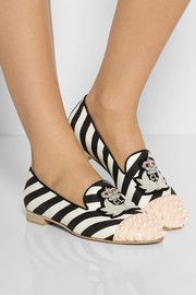 aef73d6b609 Christian Louboutin Intern studded striped canvas slippers Striped Shoes