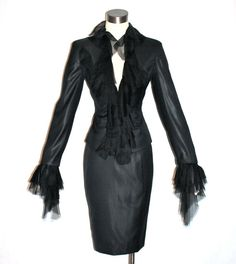 Vintage GIANNI VERSACE COUTURE Suit Black Shiney by StatedStyle, $695.00