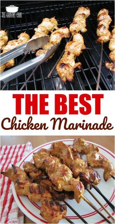 This really is the best grilled chicken marinade! It's easy to prepare and makes any chicken taste like restaurant-quality chicken. The Best Chicken Marinade recipe for grilled chicken from The Country Cook Best Grilled Chicken Marinade, Grilled Chicken Skewers, Chicken Marinade Recipes, Cooked Chicken Recipes, Chicken Marinades, Cooking Recipes, Chicken Skewers In Oven, Chicken Shish Kabobs Marinade, Kebabs On The Grill