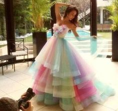 Cheap rainbow wedding dresses, Buy Quality wedding dress 2016 directly from China bride dresses Suppliers: Real Image Amazing Rainbow Wedding Dresses 2016 Colorful Handmade Flowers Bridal Gowns Tiered Tulle Robe De Mariage Bride Dress Long Prom Gowns, Pink Prom Dresses, Quinceanera Dresses, Pretty Dresses, Evening Dresses, Dresses 2016, Colorful Wedding Dresses, Pastel Prom Dress, Pastel Gown
