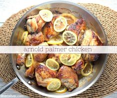 """A classic summertime drink - the Arnold Palmer - becomes the delicious marinade for this """"dinner irl""""! Wheat Free Baking, Moist Chicken, Summertime Drinks, Arnold Palmer, Party Dishes, Brewing Tea, Feeding A Crowd, Serving Platters"""
