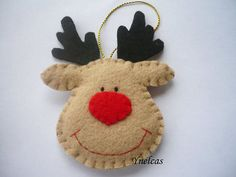 Rudolph le rouge nosed reindeer feutrine Noël ornement par ynelcas                                                                                                                                                                                 Plus                                                                                                                                                                                 Plus