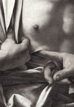 Caravaggio - The Incredulity of St. Thomas (detail), c. 1601-02