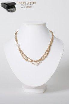 Idée Cadeau Bijoux. Le collier perles nacrée Swarovski. Ecrin bijou offert.