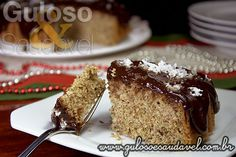 Torta de Coco com Cobertura de Chocolate » Receitas Saudáveis, Tortas e Bolos » Guloso e Saudável