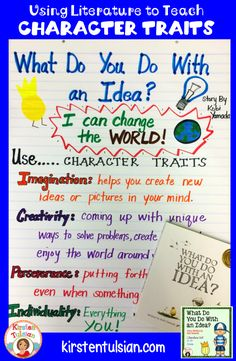 What Do You Do With an Idea? by Kobi Yamada is a PERFECT book to teach students about creativity, imagination, perseverance, and individuality.  Use the literature to teach these and other common core aligned concepts with this remarkable new, award winning book.