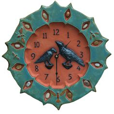 Ceramic Ravens Wall Clock in turquoise & terra-cotta created by Beth Sherman of HoneybeeCeramics.com