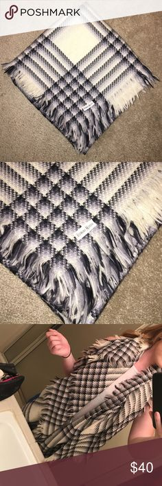Neiman Marcus pattern scarf Black white and some grey square design scarf. Can be worn multiple ways! Super cute to dress up any outfit with! Neiman Marcus Accessories Scarves & Wraps