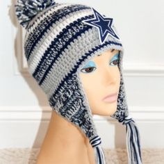 "PDF crochet hat PATTERN ""inspired"" by Dallas Cowboy's  New Era NFL  on the field hat. No patch included in instructions."