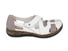 Rieker Uzavřené páskové boty bez podpatku šíře G 46367-80 / bílá