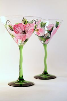 Hand Painted Martini Glasses Hibiscus on Etsy, $30.00