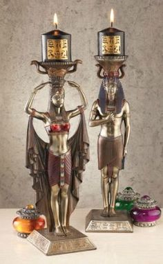 Egyptian God and Goddess candle holders