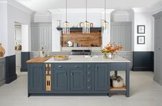 Burbidge's Langton Kitchen painted in Gravel and Seal Grey - Pantry and Island