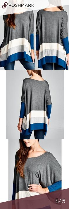 VINA Stripe Long Sleeve Top - CHARCOAL 95% rayon, 5% spandex. Made in USA.    NO TRADE, PRICE FIRM  ALSO AVAILABLE IN BLACK MIX Bellanblue Tops Blouses