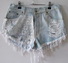shorts denim lace ripped
