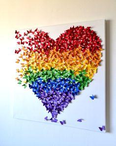 GROßE 3D Schmetterling Wandkunst in Regenbogenfarben Rainbow
