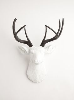 White Faux Taxidermy - The Maud | Stag Deer Head | Faux Taxidermy | White w/ Black Antlers, $89.99 (http://www.whitefauxtaxidermy.com/product/stag-deer-head-faux-taxidermy-white-resin-black-antlers)