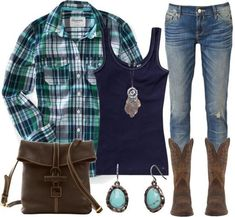 Brown boots and jeans navy blue tank and a turquoise and navy blue plaid shirt