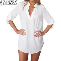 ZANZEA Oversized Women Summer Sexy Chiffon Shirt Dress Ladies V-neck Long Sleeve Casual Loose Mini Short Beach Dresses Vestidos #women, #men, #hats, #watches, #belts