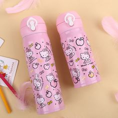 2017 New Hello kitty Cartoon Thermal Cup With Stainless Steel Cup Thermos Mug Bottle