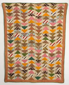 """Great flying geese crib quilt 28"""" X 37"""".  Stella Rubin Antique Quilts"""