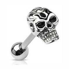 14g Death Skull Tongue Barbell