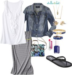 """striped maxi skirt & denim jacket - plus size"" by kimberly-holt ❤ liked on Polyvore if you'd like to purchase anything from stella & dot or would like to learn how to get for free, http://www.stelladot.com/denikaclay"