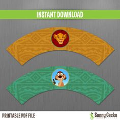 The Lion King Birthday Cupcake Wrappers - Instant Download and Edit with Adobe Reader