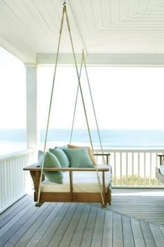 Love the hanging bench idea. Great for reading outside or drinking hot coco in the rain with a blanket wrapped around you.