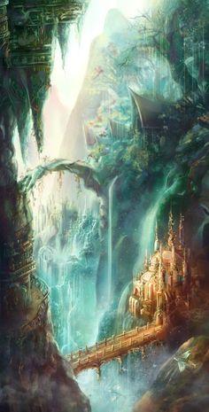 New fantasy concept art magic dreams ideas Fantasy Magic, Fantasy City, 3d Fantasy, Fantasy Places, Fantasy Setting, Fantasy Kunst, Fantasy World, Fantasy Art Landscapes, Fantasy Landscape