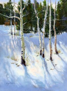 """Winter Getaway"" 16x12 Oil Painting by Cecy Turner I love painting the shadows on the snow. If you look closely, you will see two deer in the top left background!"
