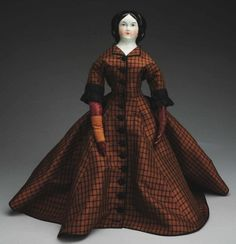 """German shoulder head with molded black hair, white center part, sides draped to back with loose coiled braid, """"Jenny . Victorian Dolls, Antique Dolls, Back Braid, Jenny Lind, Black Silk Dress, Evolution T Shirt, China Dolls, Leather Slippers"""