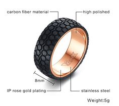 Item Type: Rings Fine or Fashion: Fashion Occasion: Party Setting Type: None Style: Casual/Sporty Shape\pattern: Geometric Metals Type: Stainless Steel Gender: Men Surface Width: Material: carbon fiber Color : black Rose gold-color Car Accessories Gifts, Rose Gold Color, Color Black, Fibre Material, Rose Gold Plates, Types Of Metal, Carbon Fiber, Ring Designs, Rings For Men