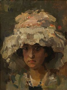 """Isaac Israels (Dutch, 1864-1934), Portrait of the Young Woman, oil on board, signed upper right, board: 18""""h x 14""""w, overall (with frame): 22.5""""h x 19""""w. Provenance: Acquired in Holland by Sophia and Alexander Hertz circa 1920 from the Dutch art dealer Jacques Goudstikker. Descended in the family to present owner, the grandchild of Sophia and Alexander Hertz"""