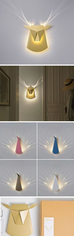 Folded Aluminum Lamps Project Feathers and Antlers When Illuminated                                                                                                                                                                                 More