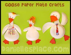 Paper Plate Goose or Duck Craft for Kids www.daniellesplace.com