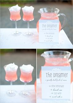 The Dreamer: Pink Lemonade, Coconut Rum, Cool Whip.--minus the cool whip--can also do with regular lemonade, add pineapple juice, and coconut rum! Fun Cocktails, Party Drinks, Summer Drinks, Cocktail Drinks, Fun Drinks, Cocktail Ideas, Cocktail Recipes, Drink Recipes, New Year's Drinks