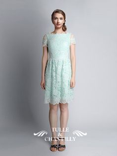 Vive Short Mint Green Lace Bridesmaid Dress with Keyhole Back 1