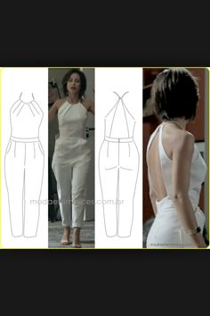 Enterizo blanco Diy Fashion, Womens Fashion, Fashion Design, Look Office, Techniques Couture, Jumpsuit Pattern, Diy Clothes, Dress Patterns, Casual Chic