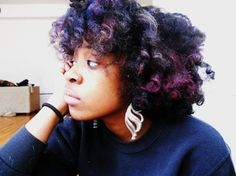A: My name is Ari. Why did you make the decision to go natural? Natural Hair Color Dye, Purple Natural Hair, Hair Dye Colors, Natural Hair Tips, Purple Hair, Natural Hair Styles, Big Curly Hair, Curly Hair Styles, Hair Junkie