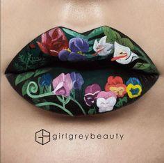 """Le lip art fleuri """"Alice au Pays des Merveilles"""" d'Andrea Reed"""