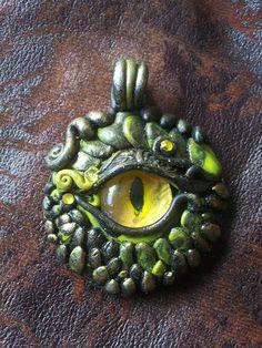 Green Dragon Eye Pendant by MakoslaCreations on Etsy, $27.00