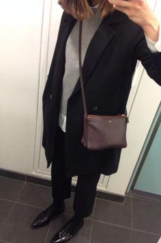 Black coat and Celine trio
