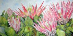 #FloralArt#CapeTown#WesternCape#Proteas 'Royal Flush' 2m x1m painted by Ellie Eburne
