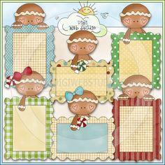 Little Gingers Christmas Frames 1 - NE Cheryl Seslar Clip Art - Click Image to Close