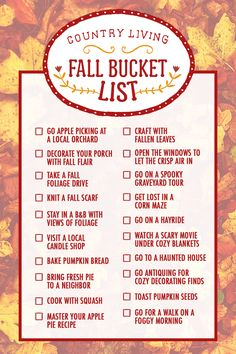 Download or pin a complete checklist of our 35 essential fall activities.    - CountryLiving.com