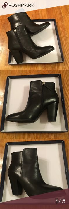 """Adrienne Vittadini black leather ankle booties Never worn, black leather ankle booties size 7 with side zipper, aprox 3"""" heel. Perfect condition Adrienne Vittadini Shoes Ankle Boots & Booties"""