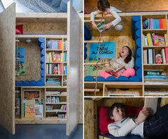 Awesome bookcase for kids with built-in reading nooks.