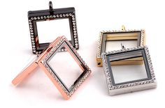 Square Locket with Rhinestones Comes with free matching chain, chains may vary in length and styleMade of Alloy Locket Bracelet, Locket Charms, Pendant Necklace, Floating Lockets, Floating Charms, Jewelry Accessories, Unique Jewelry, Decoration, Color Mixing